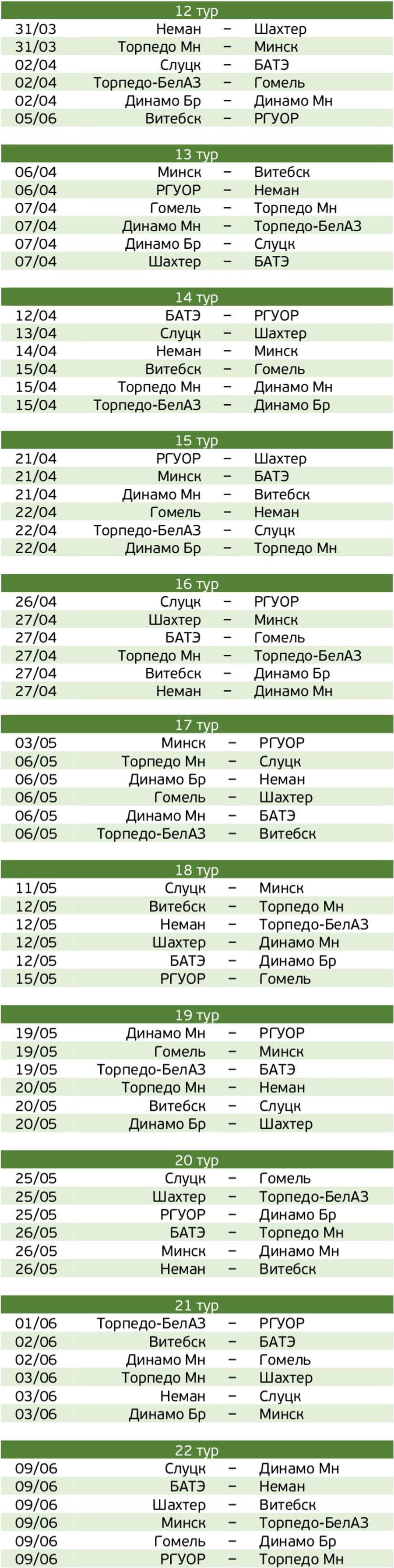 Календарь 2 круг 2001